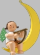 Angel with Harp on Moon Hanging Wooden Ornament by Wendt and Kuhn
