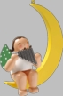 Angel with Pan Flute on Moon Hanging Wooden Ornament by Wendt and Kuhn