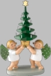 Two Angels with Tree Wooden Figurine by Wendt and Kuhn