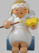 Snowflake Angel with Star, Painting Wooden Figurine by Wendt und Kuhn