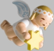 Hanging Marguerite Angel with Star Wooden Ornament by Wendt und Kuhn