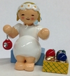 Sitting Snowflake Angel with Ornaments Wooden Figurine by Wendt und Kuhn