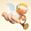 Hanging Marguerite Angel with French Horn Wooden Ornament