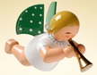 Angel with Small Trumpet Hanging Wooden Ornament by Wendt and Kuhn