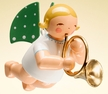 Angel with French Horn Hanging Wooden Ornament by Wendt and Kuhn