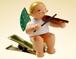 Angel with Violin Clip On Wooden Ornament by Wendt and Kuhn