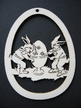 Rabbits Painting Egg Wood Ornament by Wandera GmbH