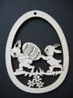 Rabbits Carrying Egg Wood Ornament by Wandera GmbH