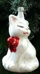 White Cat with Bow Ornament by Hausdörfer Glas Manufaktur