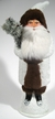 White Santa with Fur Paper Mache Candy Container