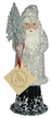 White Santa with Silver Glitter Paper Mache Candy Container by Ino Schaller