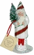 White with Red & Green Stripes Santa Paper Mache Candy Container by Ino Schaller