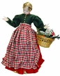 Wax Girl with Red & Green Dress, Plaid Apron and Braided Hair by Margarete & Leonore Leidel in Iffeldorf