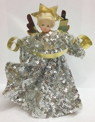 Silver Sequins Wax Angel by Margarete & Leonore Leidel in Iffeldorf