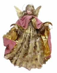 Large Pink Tulle Flowered Wax Angel by Margarete & Leonore Leidel in Iffeldorf