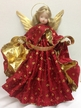 Red with Leaf Brocade Wax Angel by Margarete & Leonore Leidel in Iffeldorf