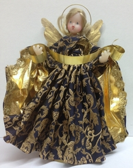 Blue with Gold Brocade Wax Angel by Margarete & Leonore Leidel in Iffeldorf