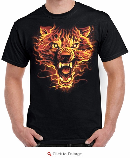 Badass Jewelry Flaming Wolf Men's Black T-shirt