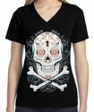 Badass Jewelry Floral Skull Ladies' Black T-shirt