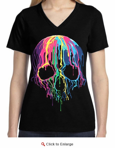 Badass Jewelry Melting Skull Ladies' Black T-shirt