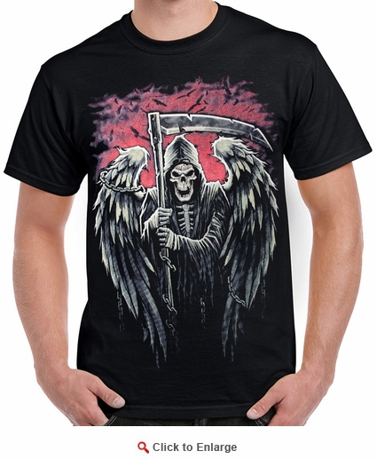 Badass Jewelry Reaper Chains Men's Black T-shirt
