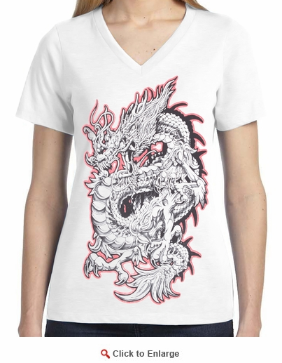 Badass Jewelry Red & Silver Dragon Ladies' White T-shirt