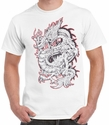Badass Jewelry Red & Silver Dragon Men's White T-shirt