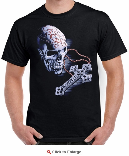 Badass Jewelry Rosary Skull Men's Black T-shirt