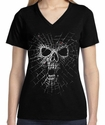 Badass Jewelry Spider Web Skull Ladies' Black T-shirt