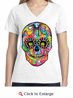 Badass Jewelry Sugar Skull Day of the Dead Ladies' White T-shirt