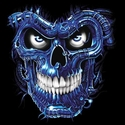 Badass Jewelry Terminator Skull Blue Ladies' White T-shirt