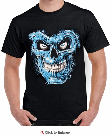 Badass Jewelry Terminator Skull Blue Men's Black T-shirt