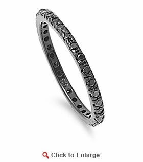 Black Rhodium Sterling Silver Black Eternity Black CZ Ring