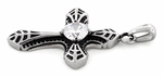 Stainless Stee Exotic Cross Clear CZ Pendant