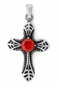 Stainless Stee Exotic Cross Orange CZ Pendant