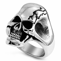 Stainless Steel Angry Cracked Skull Ring