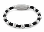 Stainless Steel Bead Rubber Bracelet