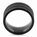 Stainless Steel Black Double Groove Sandblast Finish Ring