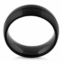 Stainless Steel Black Groove Band Ring