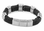 Stainless Steel Braided Black Leather Bracelet