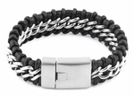 Stainless Steel Chain Black Leather Bracelet