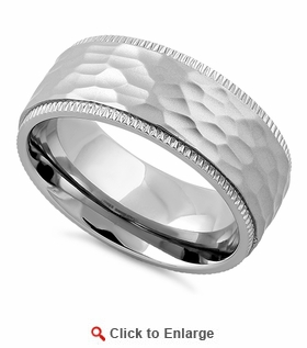 Stainless Steel Coin Edged Hammered Band Ring