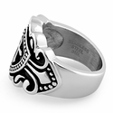 Stainless Steel Cross Crest Shield Ring
