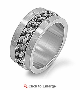 Stainless Steel Curb Chain Band Ring