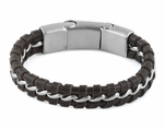 Stainless Steel Curb Chain Dark Brown Leather Bracelet