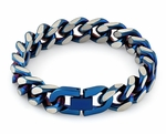 Stainless Steel Curb IP Blue Link Bracelet