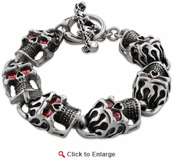 Stainless Steel Flaming Skull CZ Bracelet