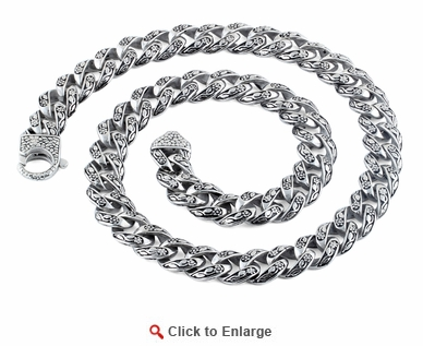 Stainless Steel Flower Etched Curb Necklace - 24 inches