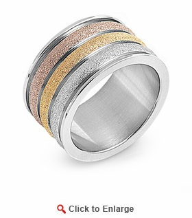 Stainless Steel Multi Color Band Ring