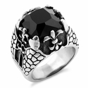 Stainless Steel Onyx Claw Fleur de Lis Ring